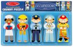 Five simple puzzle people dressed as a chef, construction worker, police officer, doctor, and fire fighter.