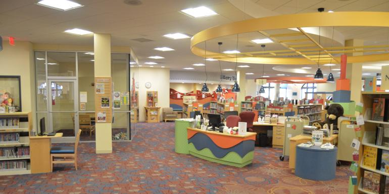 entrance to the children's department and the service desk