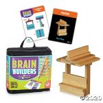 Carrying case, small wooden planks, cards with 2D challenges and 3D photos.
