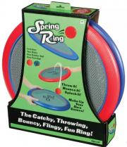 Two rings with bouncy mesh and 2 balls to bounce back and forth.