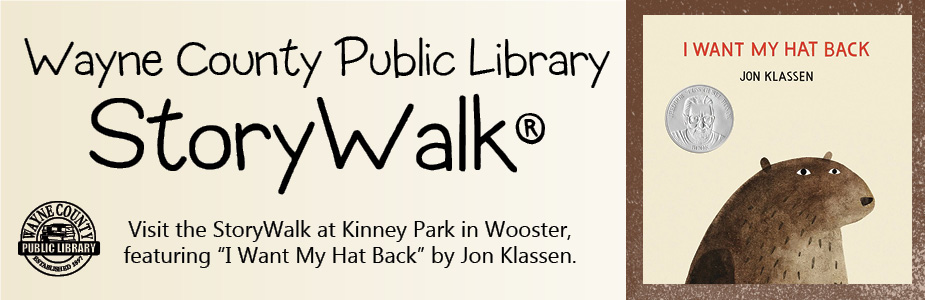 WCPL story walk at Kinney Park in Wooster featuring the book I Want My Hat Back